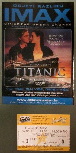 IMAX MOVIE PROGRAM + TICKET stub + PRESS Photo Croatia, Titanic 3D promo