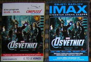 2 IMAX Movie PROGRAMS + TICKET Stub Croatia THE AVENGERS promo