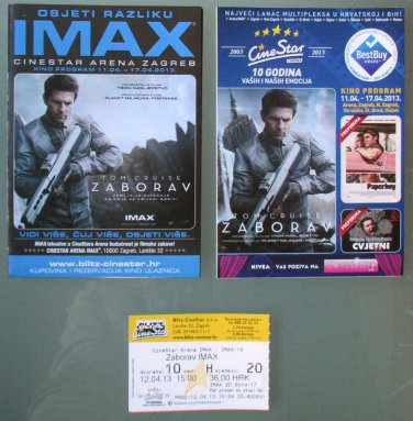 Oblivion 2 Movie PROGRAM + TICKET stub Croatia, Tom Cruise, rare promo