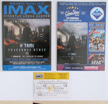 2 Movie PROGRAM + TICKET stub Croatia, Star Trek Into Darkness, IMAX promo