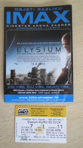 MOVIE PROGRAM + Auro 3D TICKET stub Croatia, Elysium, Matt Damon, promo