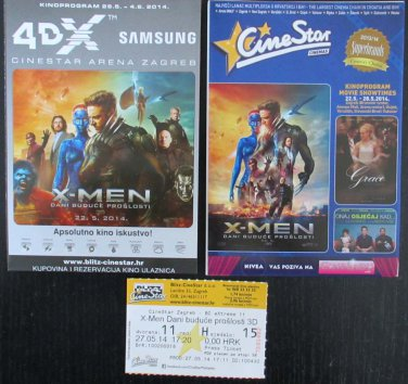 MOVIE PROGRAM + TICKET stub Croatia, X-Men Days of Future Past, Hugh Jackman promo