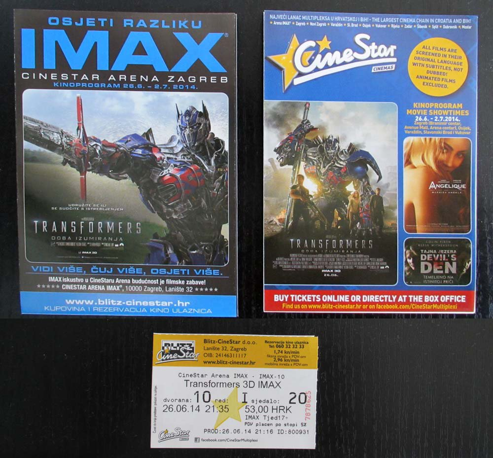 MOVIE PROGRAM + TICKET stub Croatia, Transformers age of extinction promo