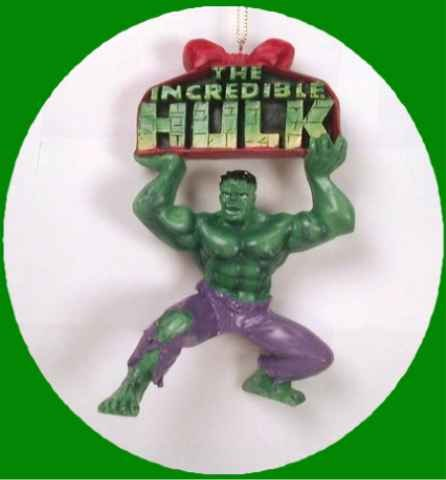 Marvel Comics INCREDIBLE HULK Brick Words Xmas Ornament