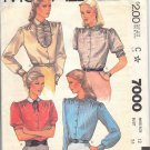 McCALL'S 7000 PATTERN 1980 MISSES' BLOUSES 4 STYLES SZ 12