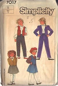 SIMPLICITY PATTERN 7017, DATED 1975 GIRL'S PANTS, SKIRT, JACKET, VEST SIZE 5