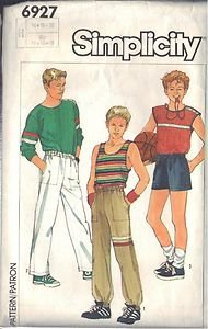 SIMPLICITY PATTERN 6927, DATED 1985 PULLOVER TOPS, PANTS, SHORTS  SZ 14-16-18