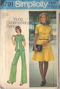 Simplicity pattern 6791, dated 1974, Misses' short two-piece dress,top,pants 14