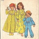 SIMPLICITY PTRN 6687 DATED 1974 GIRL'S BATHROBE, NIGHTGOWN AND PAJAMAS SZ 4