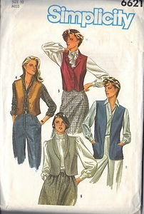 SIMPLICITY 6621 PATTERN DATED 1984 MISSES' VEST 6 STYLES-ONLY 4 PICTURED SIZE 10