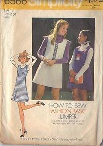 SIMPLICITY 6566 PATTERN GIRL'S BASIC JUMPER PATTERN SZ 12 DATED 1974