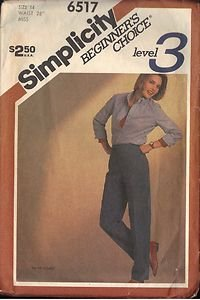 Simplicity 6517 Pattern for Misses straight leg pants in a waist size 28""