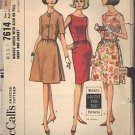 McCall's pattern 7614, dated 1964, for a Misses' Dress 3 Variations Size 14-16