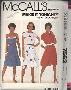 McCall's pattern 7562, dated 1981, for a Misses' DRESS 3 VARIATIONS SIZE 14