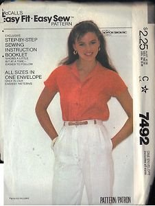 McCall's Pattern 7492 dated 1981 Misses� Shirt sizes Petite,Small, Medium, Large