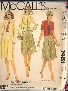 McCall's Pattern 7461 dated 1981 Misses� Jacket or Blazer and Skirt size 18