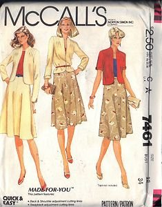 McCall's Pattern 7461 dated 1981 Misses� Jacket or Blazer and Skirt size 12