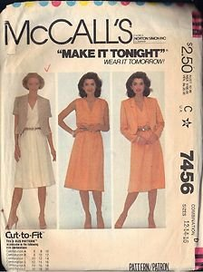McCall�s Pattern 7456 dated 1981 for a dress and jacket in size 12 ONLY