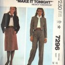 McCALL'S PATTERN 7296, DATED 1980, MISSES JACKET, SKIRT AND PANTS SIZE 12