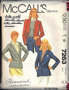 McCall's PATTERN 7263 dated 1980 MISSES' JACKET OR BLAZER WITH 3 VERSIONS size16