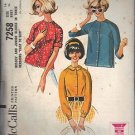 McCall's PATTERN 7258 dated 1964 MISSES' BLOUSE WITH 3 VERSIONS size14