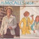 McCALL'S PATTERN 5634 MISSES' UNLINED BLAZER, VEST SIZE 18