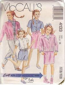 McCALL'S PATTERN 4133 GIRLS' JACKET, SHIRT, SKIRT, PANTS, SHORTS SIZE 14 UNCUT