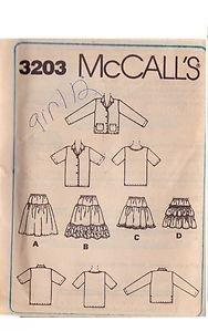 McCALL'S PATTERN 3203 GIRLS' TOP SHIRT, JACKET, TIERED SKIRT SIZE 12