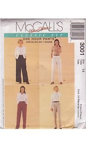 McCALL'S PATTERN 3001 MISSES' PANTS IN 4 VARIATIONS SIZE 14 UNCUT