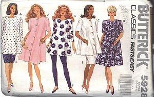BUTTERICK PATTERN 5928, MISSES' MATERNITY DRESS, TOP, SKIRT,LEGGINGS SIZE 6-8-10