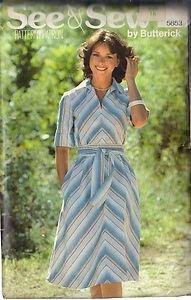 BUTTERICK PATTERN 5853, MISSES' DRESS AND BELT SZ 16