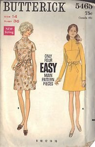 BUTTERICK PATTERN 5465 MISSES' ONE PIECE DRESS IN TWO VARIATIONS SZ 14