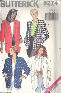 BUTTERICK PATTERN 5274 MISSES' OVERSIZED JACKET WITH CONTRAST LINING 14-16-18