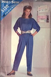 BUTTERICK PATTERN 5138 MISSES' TOP AND PANTS SIZES 8 and 10