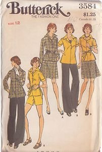 BUTTERICK PATTERN 3584 MISSES' TOP, SKIRT, PANTS AND SHORTS SIZE 12