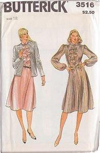 BUTTERICK PATTERN 3516 MISSES' JACKET AND DRESS SZ 12 UNCUT
