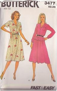 BUTTERICK PATTERN 3477 MISSES' TOP AND SKIRT 2 VARIATIONS SZ 12 UNCUT