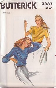 BUTTERICK PATTERN 3337 MISSES' BLOUSE IN 2 VARIATIONS SIZE 12 UNCUT