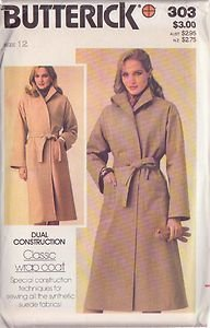 BUTTERICK PATTERN 303 MISSES' COAT SZ 12 UNCUT