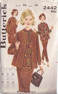 BUTTERICK PATTERN 2442 MISSES' MATERNITY JACKET, BLOUSE, SKIRT AND PANTS SIZE 12