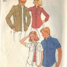 SIMPLICITY PATTERN 7019, DATED 1975 MISSES' SHIRT 2 VARIATIONS SIZE 14