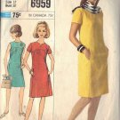 SIMPLICITY PATTERN 6959, DATED 1967 MISSES' DRESS IN TWO STYLES SIZE 12