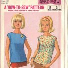 SIMPLICITY PATTERN 6596 DATED 1966 MISSES' OR TEEN BLOUSE IN SIZE 12T