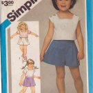 SIMPLICITY PATTERN 6421 CHILD'S PULL-ON SHORTS PULLOVER TOPS IN 2 LENGTHS SIZE 6