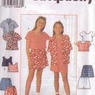 SIMPLICITY 7555 PATTERN CHILD'S TOP AND SHORTS SIZES 7,8,10 UNCUT