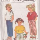 SIMPLICITY 7351 PATTERN CHILD'S LOOSE TOPS AND PULL ON SHORTS SIZES 3,4,5 UNCUT
