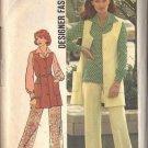 Simplicity 6604 dated 1974 misses vest, pants, blouse in a size 18