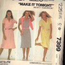 McCall's Pattern 7399 dated 1981 misses dress sizes 8/10 stretch knits only