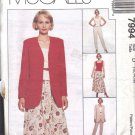McCALL'S PATTERN 7994 DATED 1995 MISSES' JACKET, VEST, PANTS, SKIRT SZS 12/14/16
