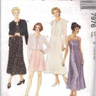 McCALL'S PATTERN 7976 DATED 1995 MISSES' DRESS IN 2 LENGTHS JACKET SZS 12-14-16